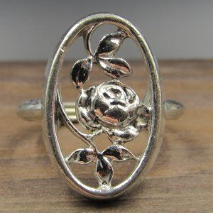 Size 8 Silver Tone Rose Flower Avon Band Ring
